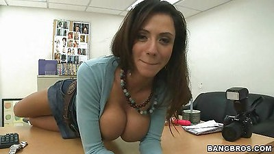 Big tits milf slowly undresses in the office