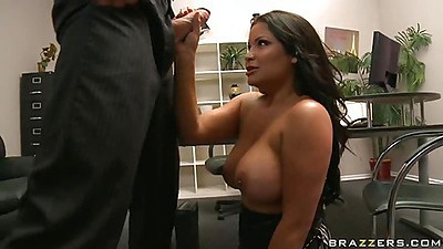 Slut lifts up her dress and leans back on the table