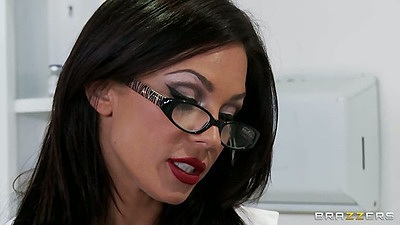 Hot brunette doctor Kirsten Price in her underwear and bra
