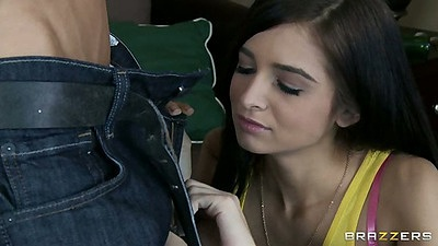 Dressed cute 18 year old teen Zoey Kush reaches into mans pants for cock