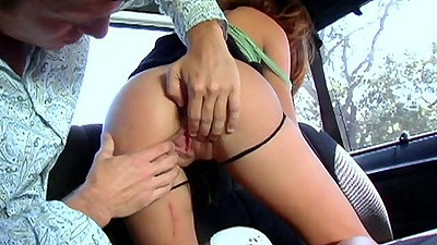 Backseat fucking and pussy fingering on bangbus with Tina