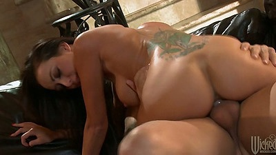 Cowgirl fucking Breanne Benson with a nice big tattoo on her back