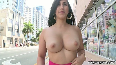Big tits latina chonga Valerie Kay going topless on public street