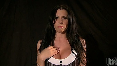 Big tits amazingly hot babe Rebeca Linares undresses for balck dick