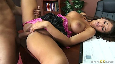 Teacher fucks student Karina White on his desk with pulled aside panties