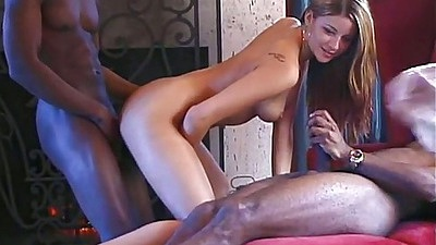 Natural tits petite girl Monica SweetHeart fucked by black cocks