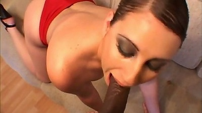 Pulled aside panties licking out Mindy and threesome black cock in white slut