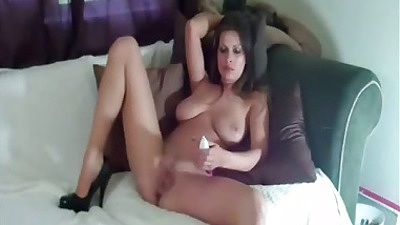 Brunette home video with gf Brandon Areana spreading pussy for dildo