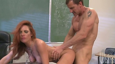 Doggy style rear entry penetration with redhead Kirsten Price in class
