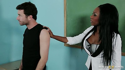 Classroom sex with naughty ebony teacher Persia Black and male student