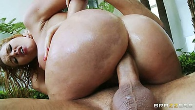 Reverse cowgirl big ass anal penetration with Krissy Lynn in oil