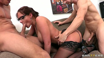 Threesome with Phoenix Marie in teacher and student sex double penetration