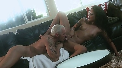 Asian pussy licking on Kaylani Lei and front penetration on sfa