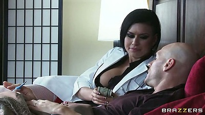 Doctor Eva Angelina visits sick patient and sucks his no so sick dick