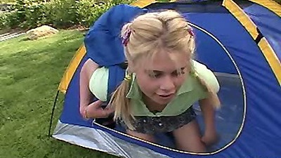 Little Summer jumping into tent in her mini skirt to get naked fast