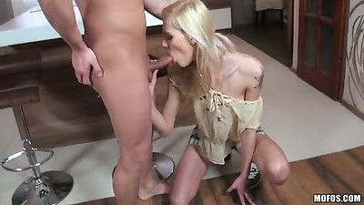 Blonde Sindy Vega blowjob and licking some balls pov