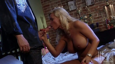 Big tits Diamond Foxxx sucking dick from man in suit with 69 close up