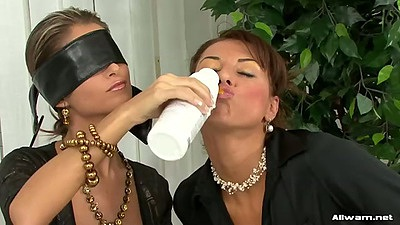 Blind folded sluts Nessa Devil and Leny Wild getting wet and messy