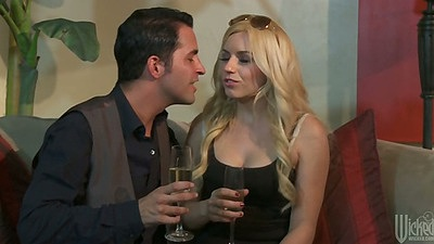 Blonde Lexi Belle has a drink ok the sex move
