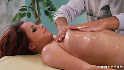 Oil massage with horny redhead Ashley Graham