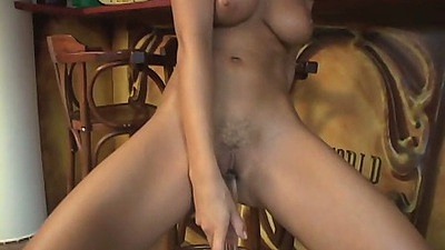 Sex to sitting and chair fuck while sucking dildo with Angel Dark