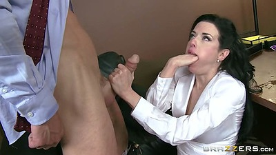 Rough sex and blowjob on table at the work place fun with Veronica Avluv