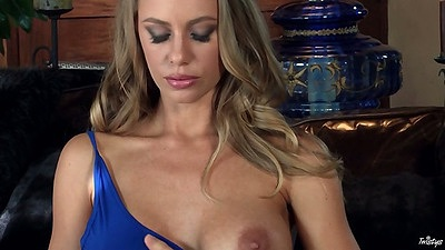 Blonde big tits Nicole Aniston spreading hairy pussy close up