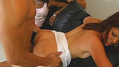 Doggy style fucking a slut at a party and cumming on ass