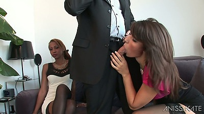 Fully clothed ebony blowjob and girl on girl play with Katia De Lys and Stella Lacroix