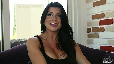 Brunette solo Romi Rain gets out of her black tight dress
