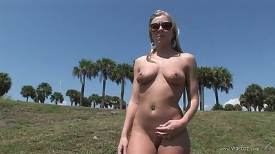 Britney Brooks natural tits solo chick puts clothes on